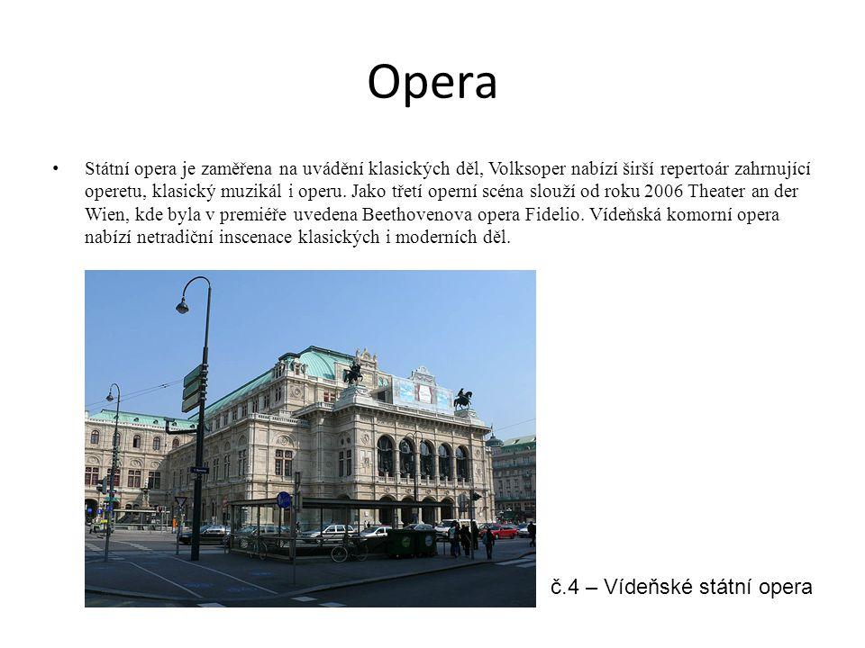 Opera Státní opera je zaměřena na uvádění klasických děl, Volksoper nabízí širší repertoár zahrnující operetu, klasický muzikál i operu. Jako třetí op
