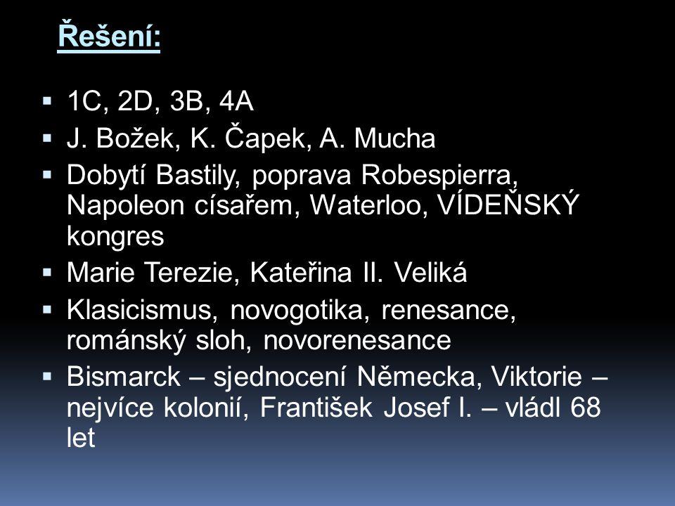 Řešení:  1C, 2D, 3B, 4A  J.Božek, K. Čapek, A.