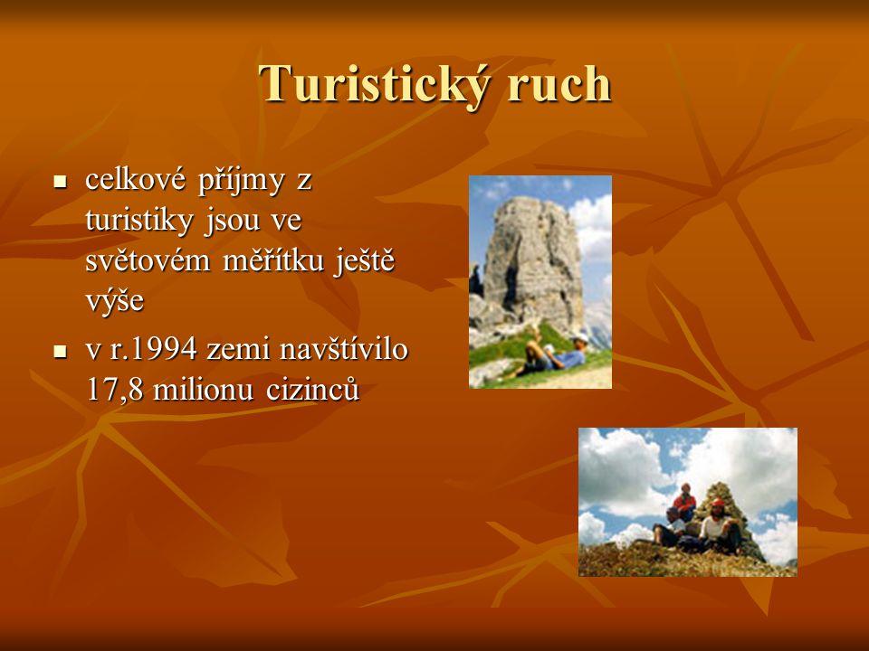 Turistický ruch celkové příjmy z turistiky jsou ve světovém měřítku ještě výše celkové příjmy z turistiky jsou ve světovém měřítku ještě výše v r.1994