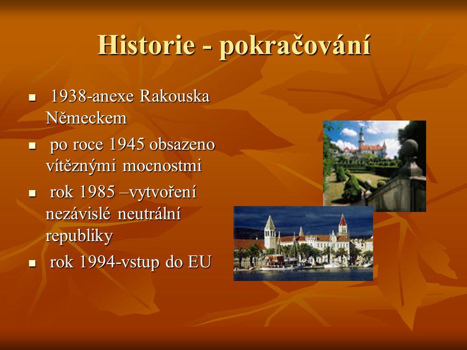 Historie - pokračování 1938-anexe Rakouska Německem 1938-anexe Rakouska Německem po roce 1945 obsazeno vítěznými mocnostmi po roce 1945 obsazeno vítěz