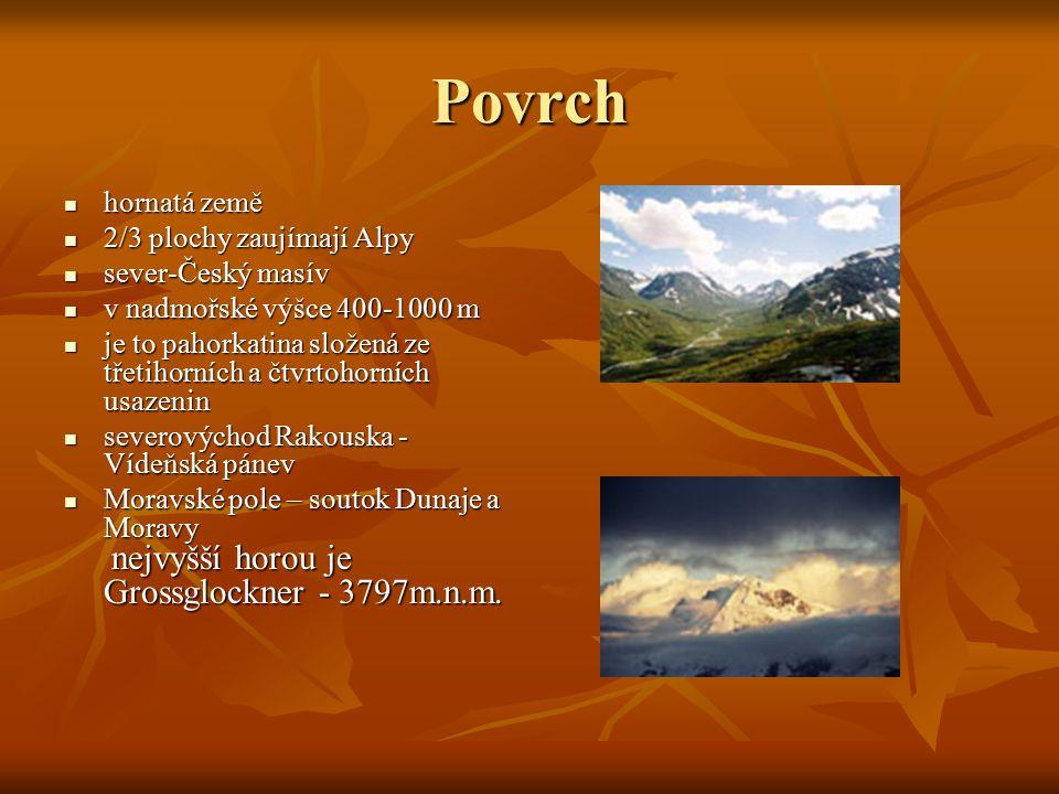 Povrch hornatá země hornatá země 2/3 plochy zaujímají Alpy 2/3 plochy zaujímají Alpy sever-Český masív sever-Český masív v nadmořské výšce 400-1000 m