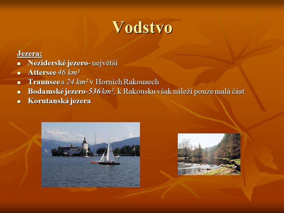 Vodstvo Jezera: Neziderské jezero- největší Neziderské jezero- největší Attersee 46 km² Attersee 46 km² Traunsee s 24 km² v Horních Rakousech Traunsee