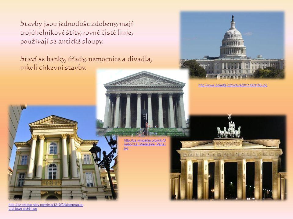 Stavby jsou jednoduše zdobeny, mají trojúhelníkové štíty, rovné čisté linie, používají se antické sloupy. Staví se banky, úřady, nemocnice a divadla,