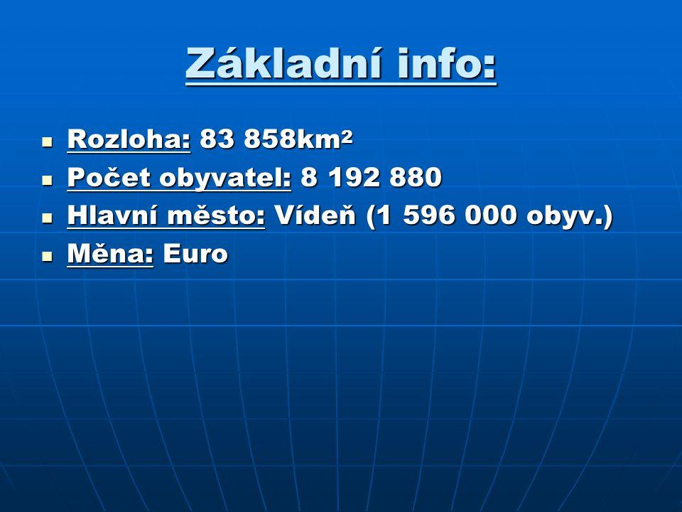 Základní info: Rozloha: 83 858km 2 Rozloha: 83 858km 2 Počet obyvatel: 8 192 880 Počet obyvatel: 8 192 880 Hlavní město: Vídeň (1 596 000 obyv.) Hlavn
