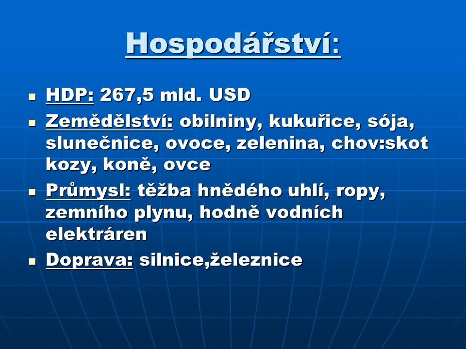 Hospodářství : HDP: 267,5 mld. USD HDP: 267,5 mld. USD Zemědělství: obilniny, kukuřice, sója, slunečnice, ovoce, zelenina, chov:skot kozy, koně, ovce