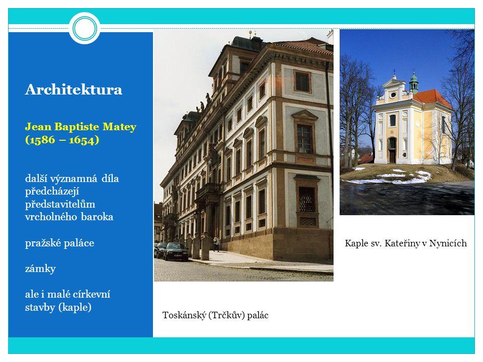 Architektura Jean Baptiste Matey (1586 – 1654) další významná díla předcházejí představitelům vrcholného baroka pražské paláce zámky ale i malé církev