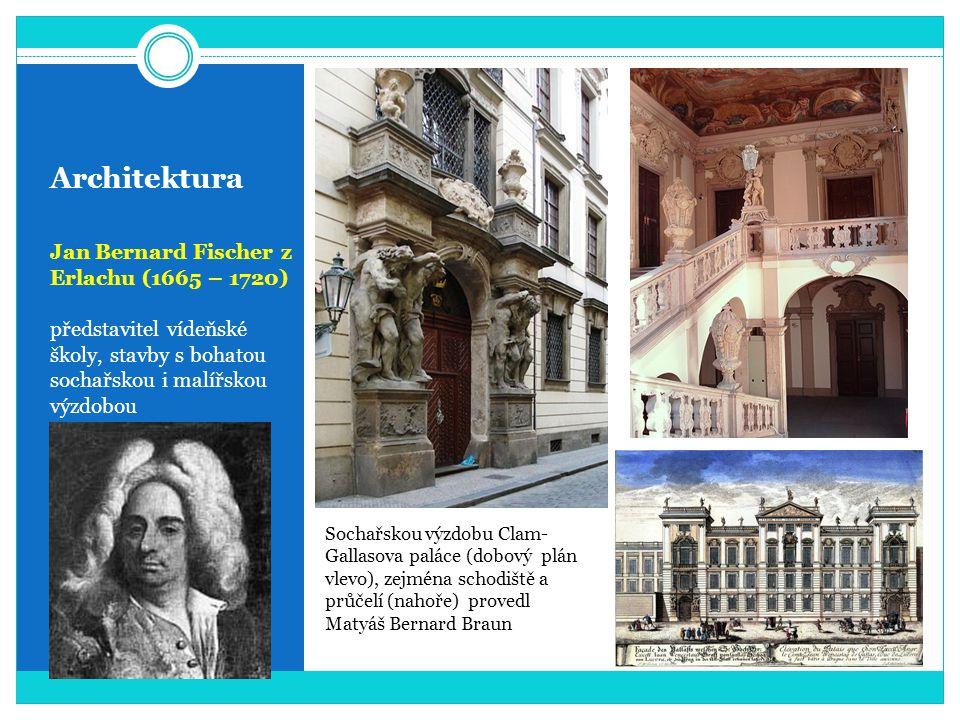 Architektura Jan Bernard Fischer z Erlachu (1665 – 1720) představitel vídeňské školy, stavby s bohatou sochařskou i malířskou výzdobou Sochařskou výzd