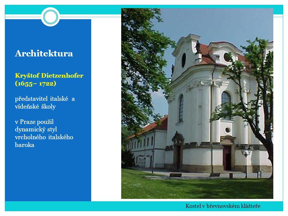 Architektura Kryštof Dietzenhofer (1655– 1722) představitel italské a vídeňské školy v Praze použil dynamický styl vrcholného italského baroka Kostel