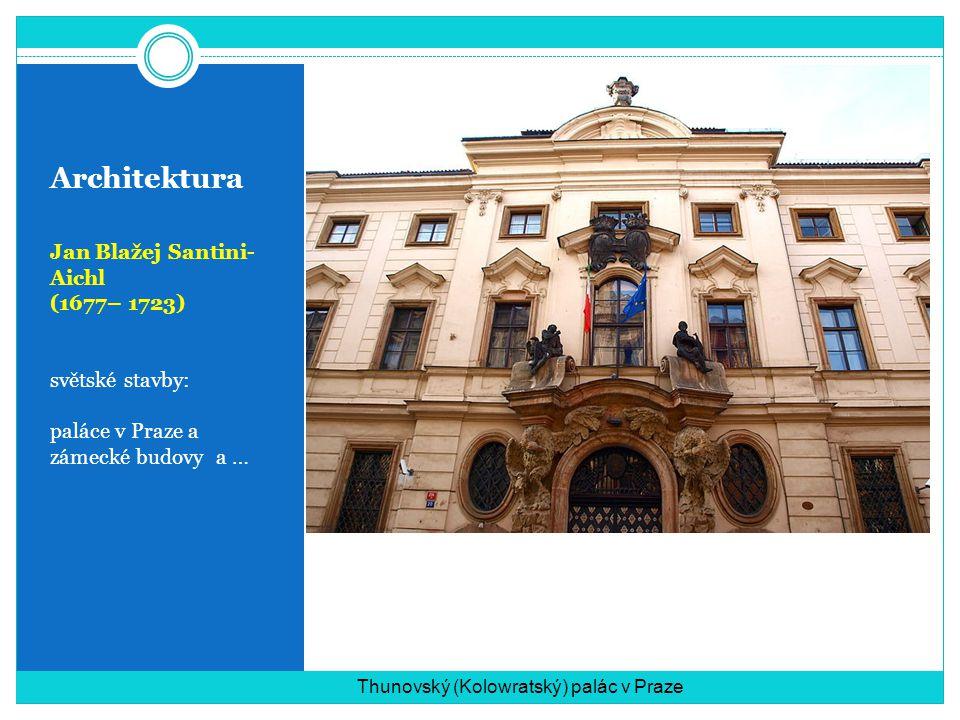 Architektura Jan Blažej Santini- Aichl (1677– 1723) světské stavby: paláce v Praze a zámecké budovy a … Thunovský (Kolowratský) palác v Praze