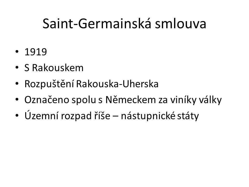 Saint-Germainská smlouva 1919 S Rakouskem Rozpuštění Rakouska-Uherska Označeno spolu s Německem za viníky války Územní rozpad říše – nástupnické státy