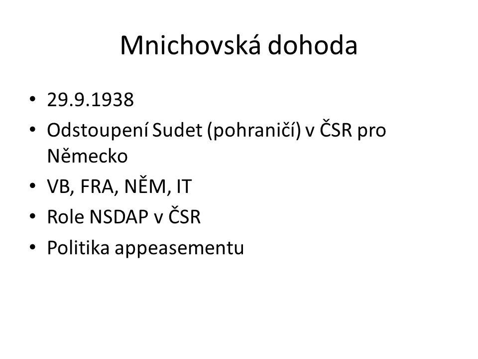 Mnichovská dohoda 29.9.1938 Odstoupení Sudet (pohraničí) v ČSR pro Německo VB, FRA, NĚM, IT Role NSDAP v ČSR Politika appeasementu