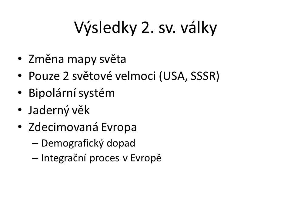 Výsledky 2. sv. války Změna mapy světa Pouze 2 světové velmoci (USA, SSSR) Bipolární systém Jaderný věk Zdecimovaná Evropa – Demografický dopad – Inte
