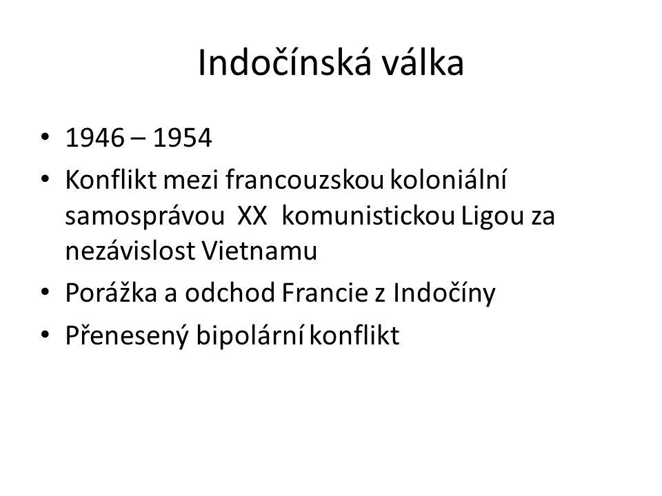Indočínská válka 1946 – 1954 Konflikt mezi francouzskou koloniální samosprávou XX komunistickou Ligou za nezávislost Vietnamu Porážka a odchod Francie