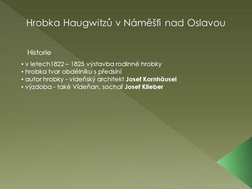 Hrobka Haugwitzů v Náměšťi nad Oslavou v letech1822 – 1825 výstavba rodinné hrobky hrobka tvar obdélníku s předsíní autor hrobky - vídeňský architekt Josef Kornhäusel výzdoba - také Vídeňan, sochař Josef Klieber Historie