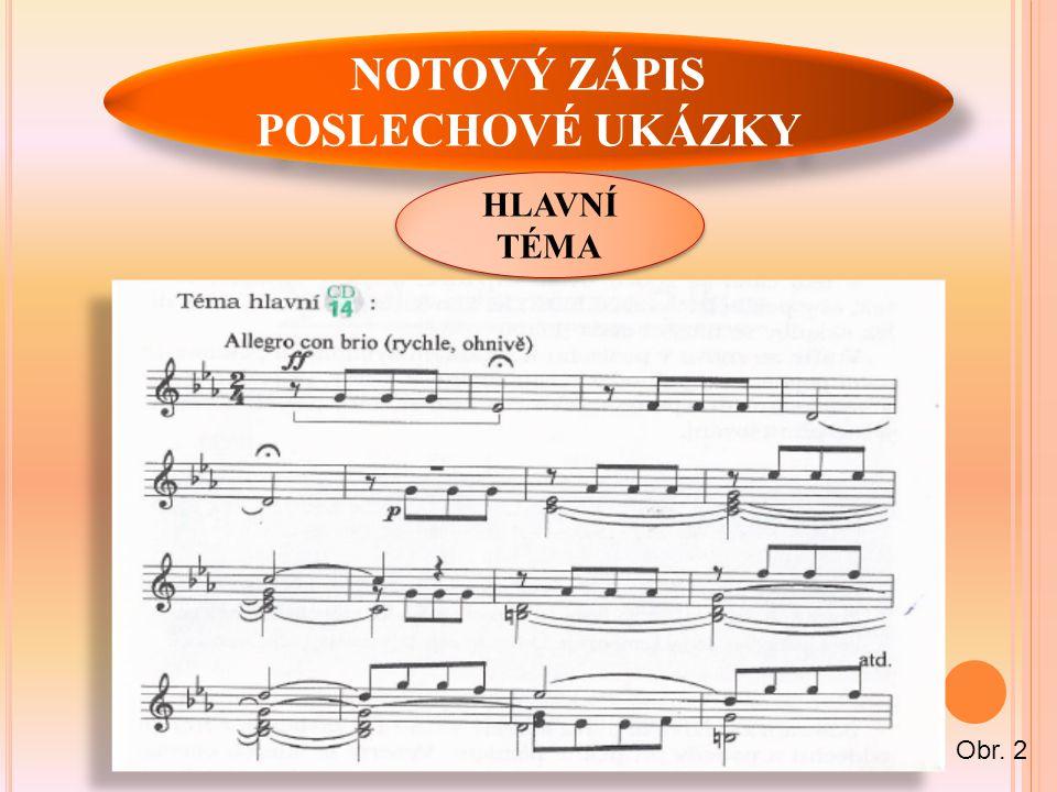 NOTOVÝ ZÁPIS POSLECHOVÉ UKÁZKY HLAVNÍ TÉMA Obr. 2