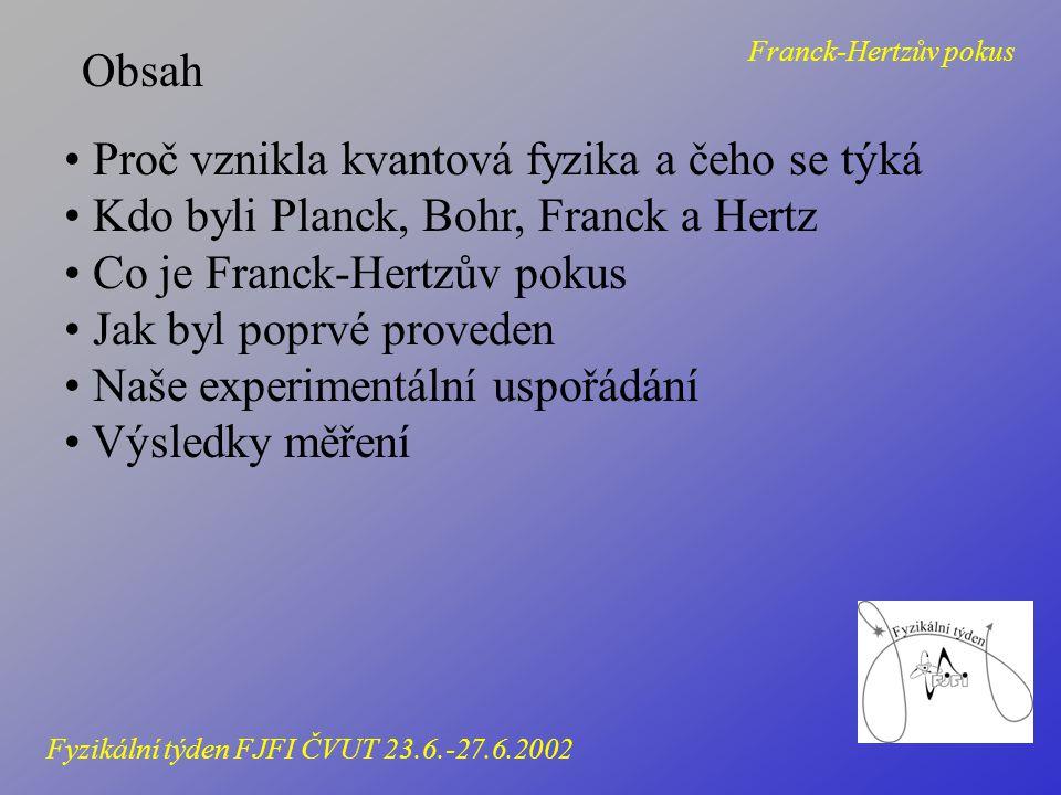 Základní myšlenky kvantové fyziky Klasická fyzika Energie se dá měnit spojitě Částice a vlny jsou zcela odlišné pojmy Kvantová fyzika Energie se mění po částech - kvantech Částice a vlny se dají popsat v jedné rovnici Franck-Hertzův pokus Fyzikální týden FJFI ČVUT 23.6.-27.6.2002