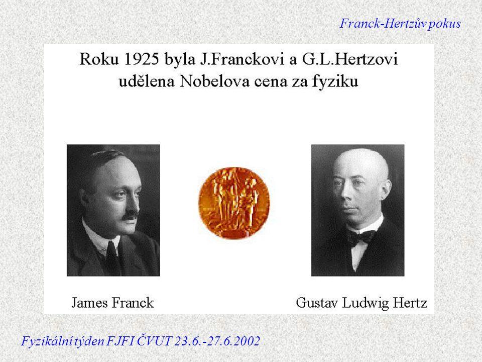 Schéma zapojení Franck-Hertzův pokus Fyzikální týden FJFI ČVUT 23.6.-27.6.2002
