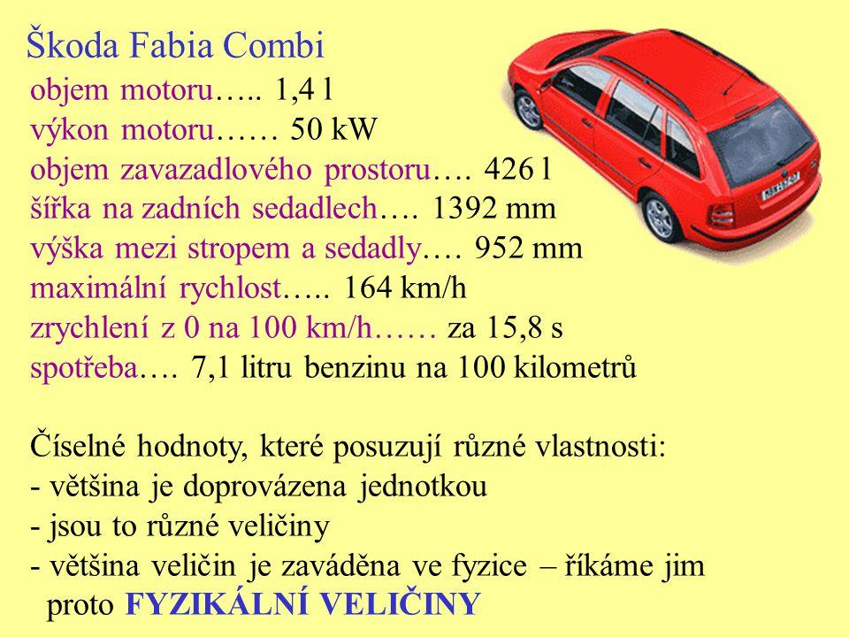 Škoda Fabia Combi objem motoru….. 1,4 l výkon motoru…… 50 kW objem zavazadlového prostoru…. 426 l šířka na zadních sedadlech…. 1392 mm výška mezi stro