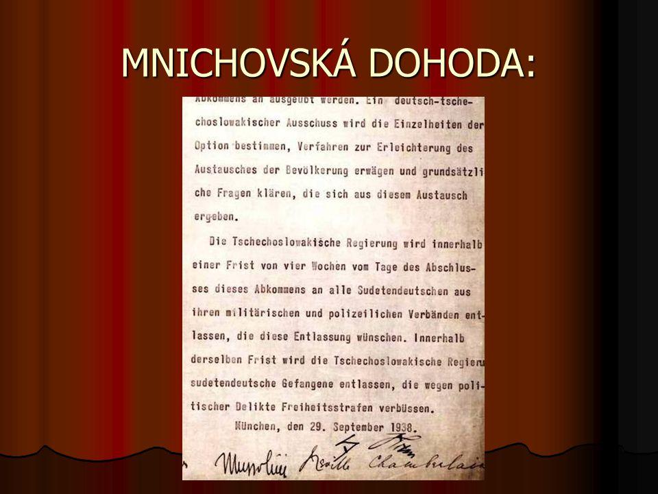 MNICHOVSKÁ DOHODA: