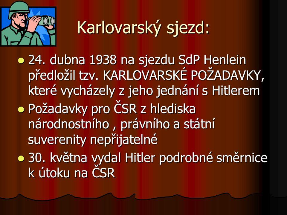 Karlovarský sjezd: 24. dubna 1938 na sjezdu SdP Henlein předložil tzv. KARLOVARSKÉ POŽADAVKY, které vycházely z jeho jednání s Hitlerem 24. dubna 1938