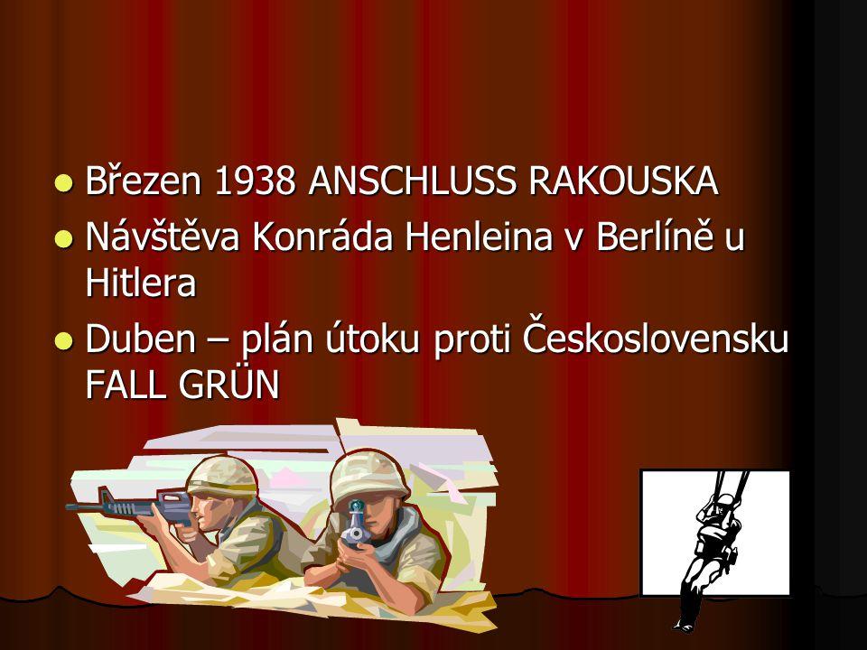 Březen 1938 ANSCHLUSS RAKOUSKA Březen 1938 ANSCHLUSS RAKOUSKA Návštěva Konráda Henleina v Berlíně u Hitlera Návštěva Konráda Henleina v Berlíně u Hitl