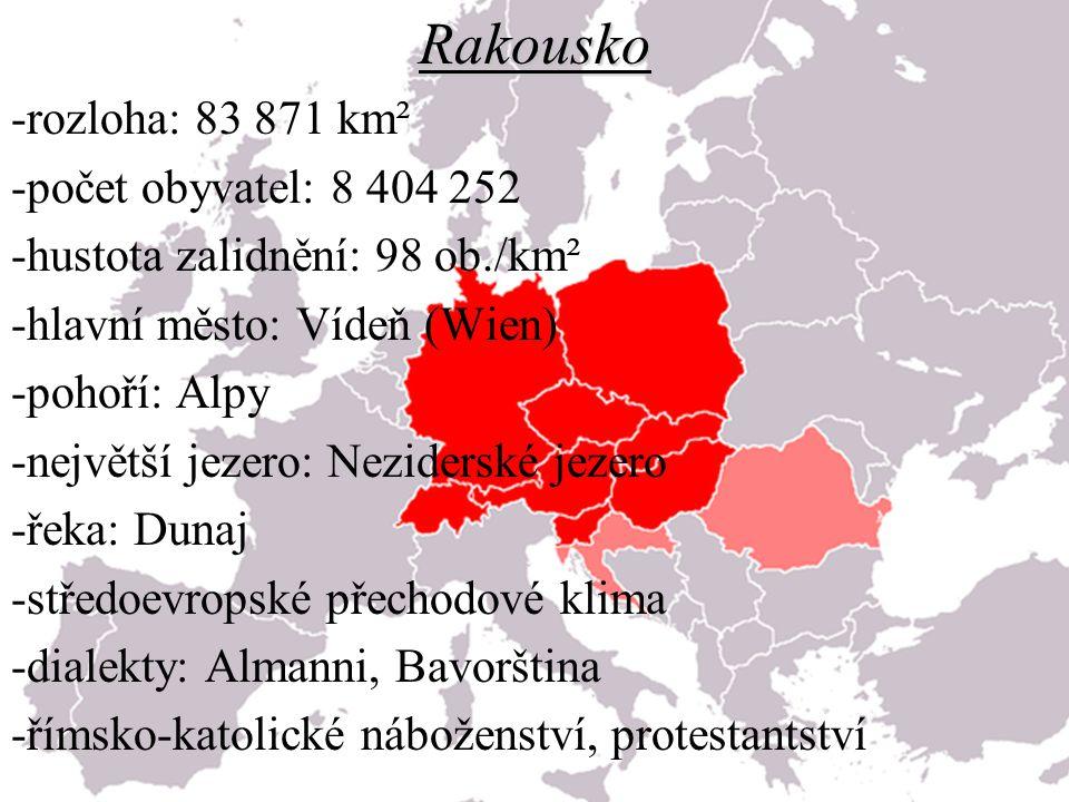 Rakousko -rozloha: 83 871 km² -počet obyvatel: 8 404 252 -hustota zalidnění: 98 ob./km² -hlavní město: Vídeň (Wien) -pohoří: Alpy -největší jezero: Ne