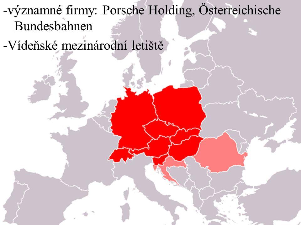-významné firmy: Porsche Holding, Österreichische Bundesbahnen -Vídeňské mezinárodní letiště