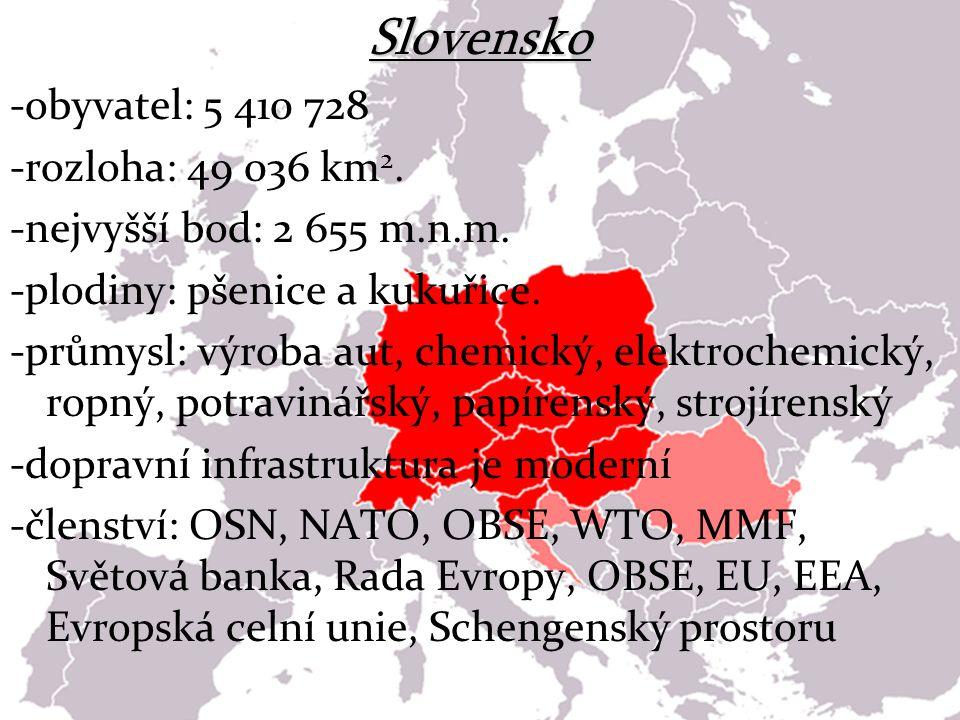 Slovensko -obyvatel: 5 410 728 -rozloha: 49 036 km 2. -nejvyšší bod: 2 655 m.n.m. -plodiny: pšenice a kukuřice. -průmysl: výroba aut, chemický, elektr