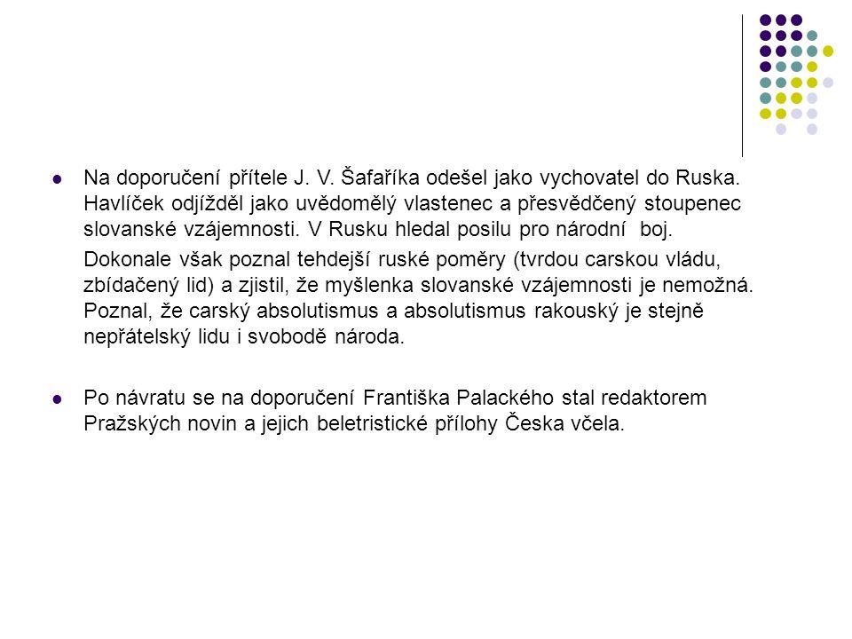 Na doporučení přítele J. V. Šafaříka odešel jako vychovatel do Ruska. Havlíček odjížděl jako uvědomělý vlastenec a přesvědčený stoupenec slovanské vzá