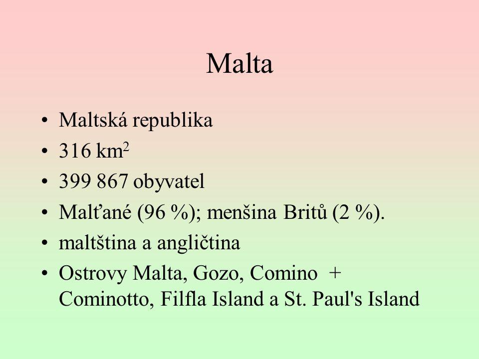 Malta Maltská republika 316 km 2 399 867 obyvatel Malťané (96 %); menšina Britů (2 %). maltština a angličtina Ostrovy Malta, Gozo, Comino + Cominotto,