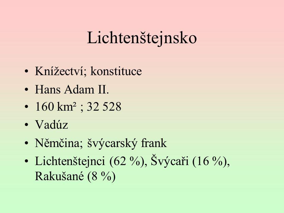 Lichtenštejnsko Knížectví; konstituce Hans Adam II. 160 km² ; 32 528 Vadúz Němčina; švýcarský frank Lichtenštejnci (62 %), Švýcaři (16 %), Rakušané (8