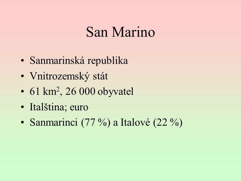 San Marino Sanmarinská republika Vnitrozemský stát 61 km 2, 26 000 obyvatel Italština; euro Sanmarinci (77 %) a Italové (22 %)