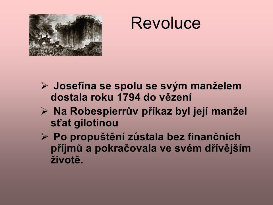 Revoluce  J Josefína se spolu se svým manželem dostala roku 1794 do vězení  Na Robespierrův příkaz byl její manžel sťat gilotinou  Po propuštění z