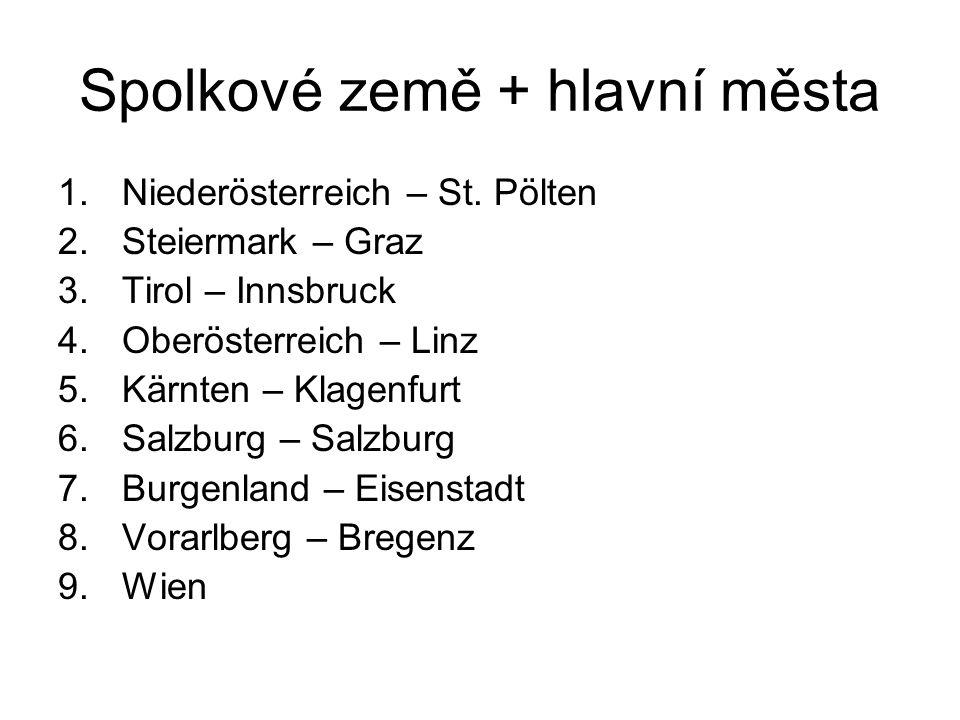 Spolkové země + hlavní města 1.Niederösterreich – St. Pölten 2.Steiermark – Graz 3.Tirol – Innsbruck 4.Oberösterreich – Linz 5.Kärnten – Klagenfurt 6.