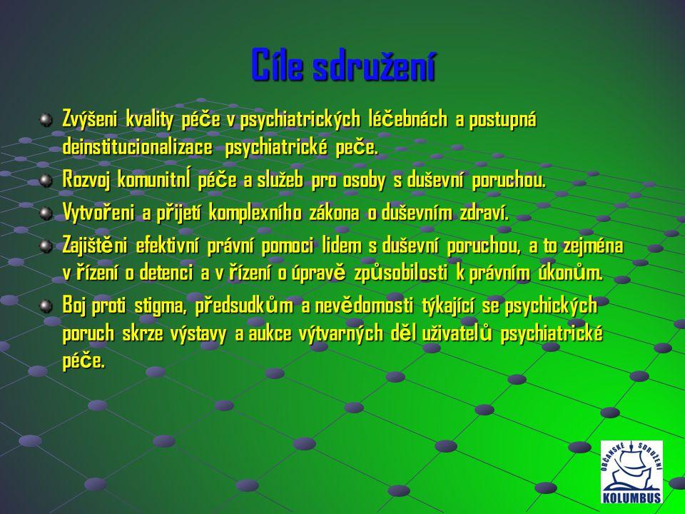 Cíle sdružení Zvýšeni kvality pé č e v psychiatrických lé č ebnách a postupná deinstitucionalizace psychiatrické pe č e. Rozvoj komunitnÍ pé č e a slu