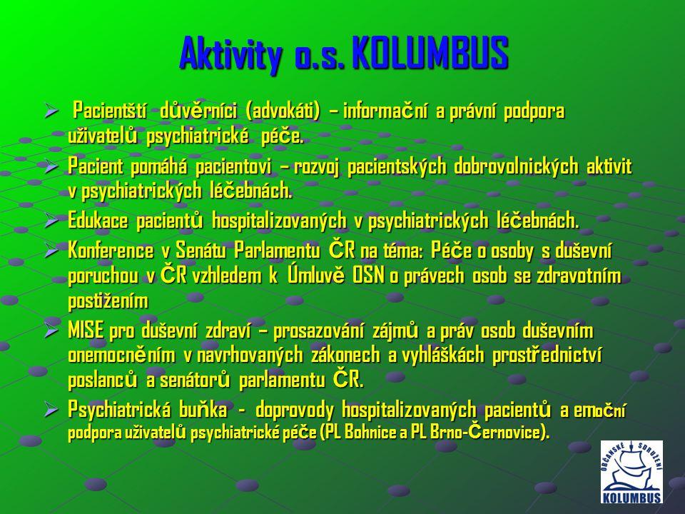 Aktivity o.s. KOLUMBUS  Pacientští d ů v ě rníci (advokáti) – informa č ní a právní podpora uživatel ů psychiatrické pé č e.  Pacient pomáhá pacient