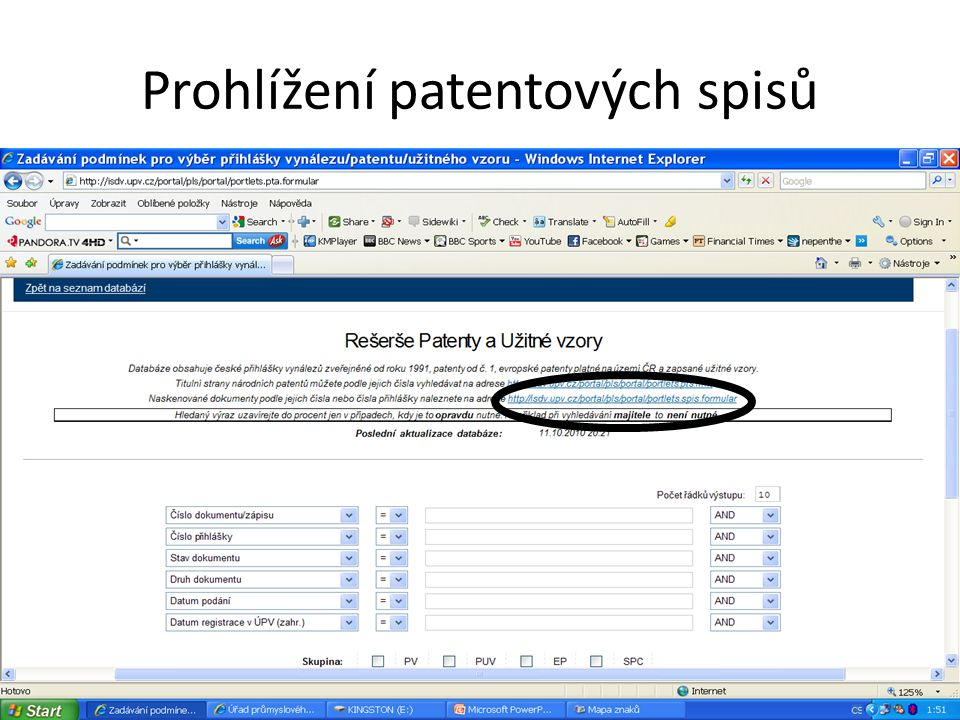 Prohlížení patentových spisů