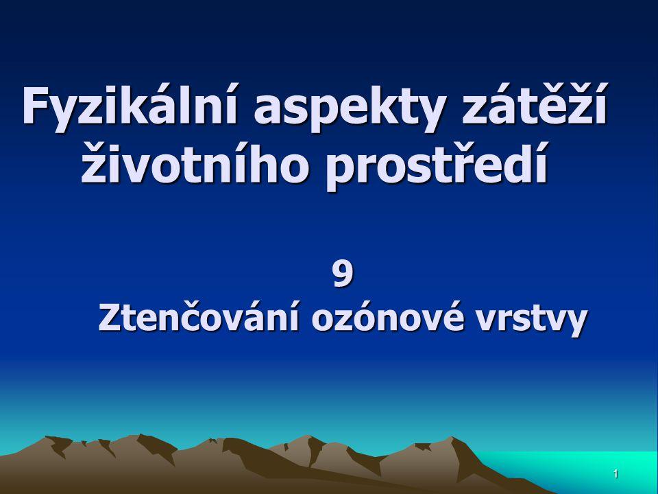 Fyzikální aspekty zátěží životního prostředí 1 9 Ztenčování ozónové vrstvy