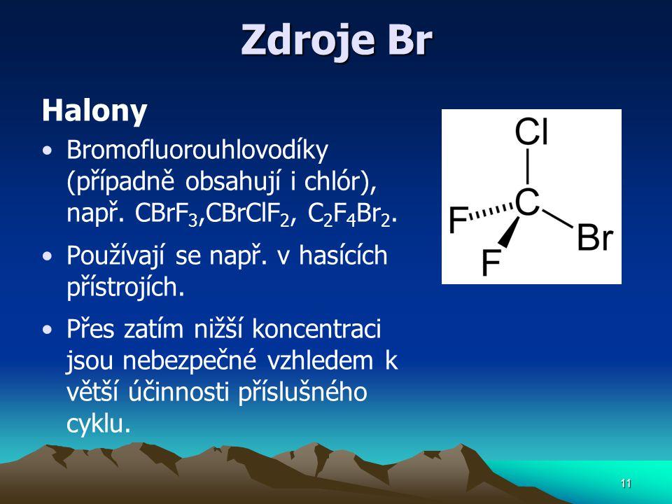 Zdroje Br Halony Bromofluorouhlovodíky (případně obsahují i chlór), např. CBrF 3,CBrClF 2, C 2 F 4 Br 2. Používají se např. v hasících přístrojích. Př