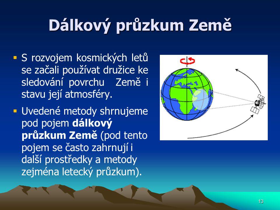 Dálkový průzkum Země  S rozvojem kosmických letů se začali používat družice ke sledování povrchu Země i stavu její atmosféry.  Uvedené metody shrnuj