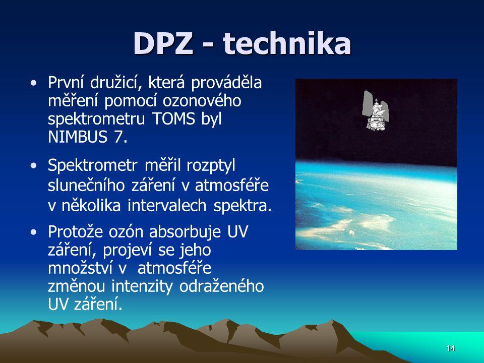 DPZ - technika První družicí, která prováděla měření pomocí ozonového spektrometru TOMS byl NIMBUS 7. Spektrometr měřil rozptyl slunečního záření v at