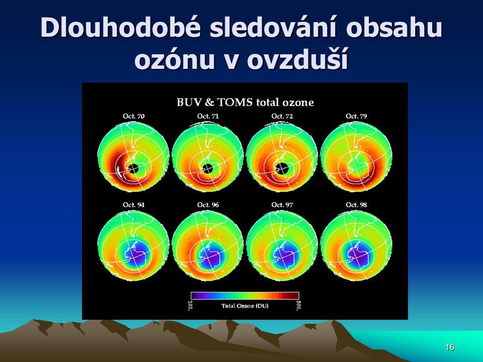 Dlouhodobé sledování obsahu ozónu v ovzduší 16