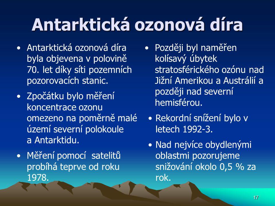 Antarktická ozonová díra Antarktická ozonová díra byla objevena v polovině 70. let díky síti pozemních pozorovacích stanic. Zpočátku bylo měření konce