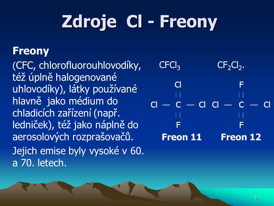 Zdroje Cl - Freony Freony ( CFC, chlorofluorouhlovodíky, též úplně halogenované uhlovodíky), látky používané hlavně jako médium do chladicích zařízení