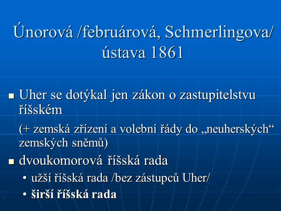 """Únorová /februárová, Schmerlingova/ ústava 1861 Uher se dotýkal jen zákon o zastupitelstvu říšském Uher se dotýkal jen zákon o zastupitelstvu říšském (+ zemská zřízení a volební řády do """"neuherských zemských sněmů) dvoukomorová říšská rada dvoukomorová říšská rada užší říšská rada /bez zástupců Uher/užší říšská rada /bez zástupců Uher/ širší říšská radaširší říšská rada"""