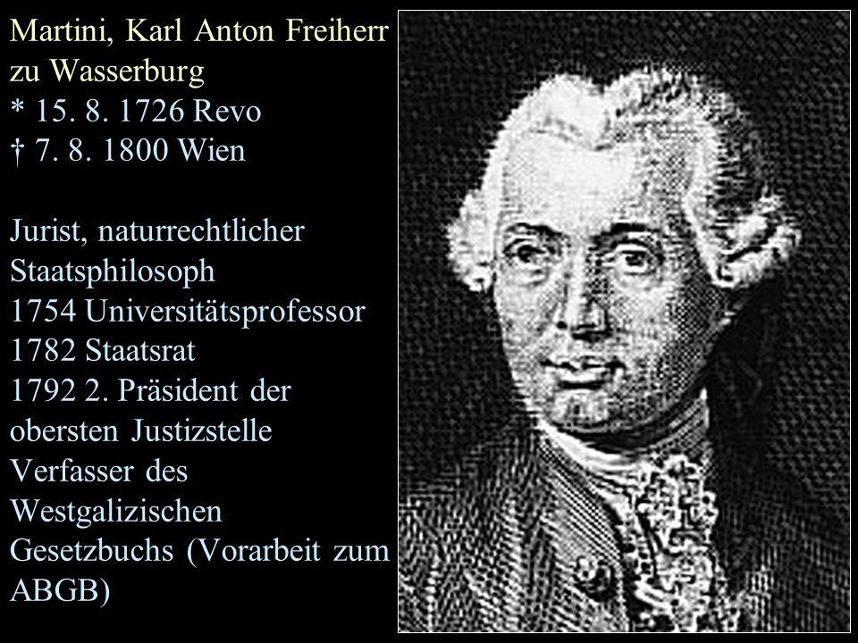 Martini, Karl Anton Freiherr zu Wasserburg * 15. 8.