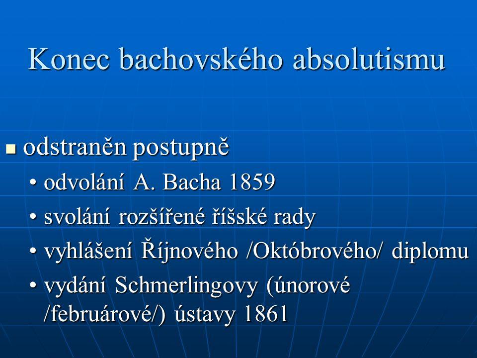Konec bachovského absolutismu odstraněn postupně odstraněn postupně odvolání A.