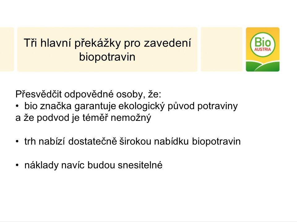 Tři hlavní překážky pro zavedení biopotravin Přesvědčit odpovědné osoby, že: bio značka garantuje ekologický původ potraviny a že podvod je téměř nemožný trh nabízí dostatečně širokou nabídku biopotravin náklady navíc budou snesitelné