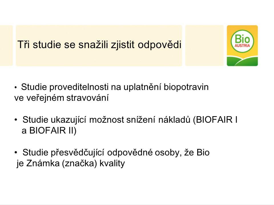 Tři studie se snažili zjistit odpovědi Studie proveditelnosti na uplatnění biopotravin ve veřejném stravování Studie ukazující možnost snížení nákladů (BIOFAIR I a BIOFAIR II) Studie přesvědčující odpovědné osoby, že Bio je Známka (značka) kvality