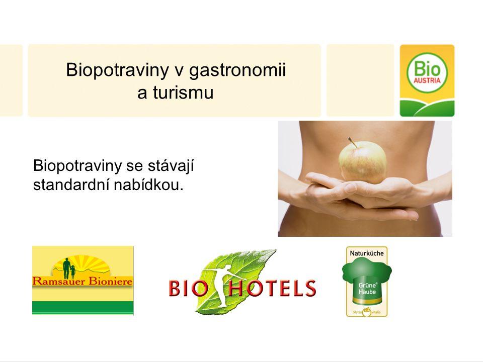 Biopotraviny v gastronomii a turismu Biopotraviny se stávají standardní nabídkou.